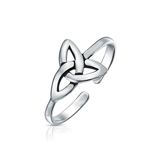 Celtic Trinity Knot Work Triquetra Shape Midi Toe Ring Thin Band Oxidized 925 Silver Sterling Adjustable