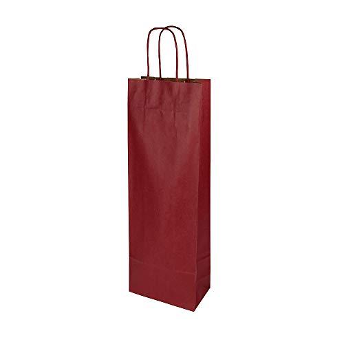 BIOZOYG Flessenzakken geschenk zakken met handvat 14x8x40cm kraftpapier gewicht 100 g / M2 edele flessen verpakking I wijnfleszak I cadeauzakje wijn I papieren zakken 25 stuks bordeaux