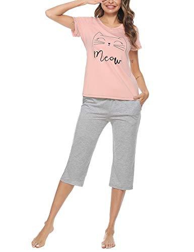 Sykooria Conjuntos de Pijamas para Mujer Algodón de Manga Corta y 3/4 de Largo en la Parte Inferior Conjuntos de Ropa de Dormir Pijamas Impresión Suave Ropa de Dormir para Damas Homewear Lounge Wear