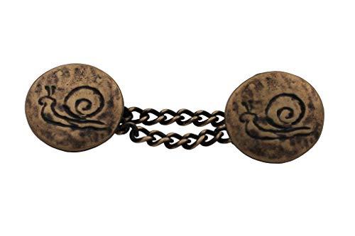 kleine Messing antik Knöpfe mit Kette Kettenknöpfe Schnecke Motiv 16mm, Kette 35mm Verschluss Jacke