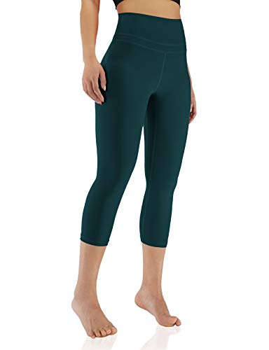 """ODODOS Women's 21"""" High Rise Yoga Leggings, Sports Tights Workout Running Capris Crop Pants with Inner Pocket, Forest Teal, Medium"""