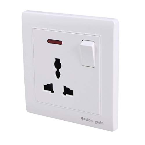 PIXNOR Cargador de Pared USB Protector contra Sobretensiones Adaptador de Toma de Corriente USB Toma de Corriente con Interruptor para El Dormitorio de Casa Oficina Esencial 3 Agujeros