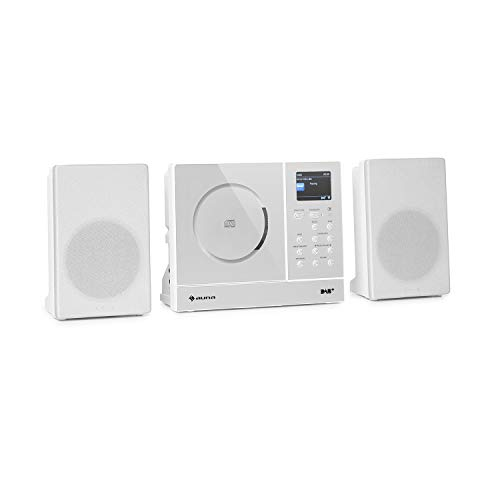 "auna Connect Vertical - Internetradio, 2 x Lautsprecher (2 x 10 Watt), MP3-fähiger CD-Player, Internet/UKW/DAB+ Radiotuner, Spotify-Connect, Bluetooth-Funktion, HCC Display: 2,4\"" TFT, weiß"