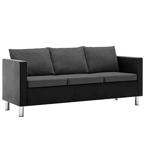 vidaXL Sofa 3er Kunstleder Couch Polstersofa Loungesofa Ledersofa Sitzmöbel
