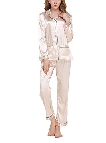 Asskyus Pigiama da Donna Top e Pantaloni Set di Raso, Pantaloni a Maniche Lunghe da Donna (M, Champagne)
