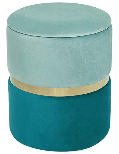 Suhu Taburete de Terciopelo con Tapa para Almacenaje Redondo Puff Baúl Asiento de Almacenamiento Otomana Elegante Decoración de Metal Azulverde