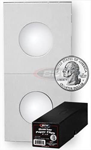 100 Paper Flips Quarter Coin Collecting Storage - Boxed by BCW