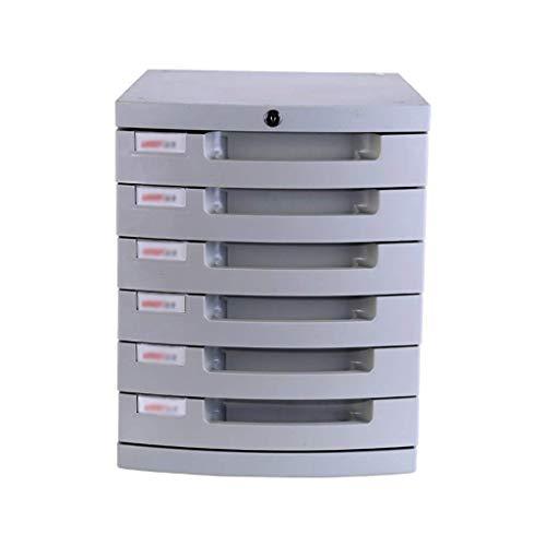 LHQ-HQ Schublade Sorter, Desktop-Mit Lock 6-Tier Kleiner Schublade Datenzeitungsständer A4 Papier Büro Plastik Weiß (Größe: 15.3in * 11.9in * 14.6in) Zeitungsständer