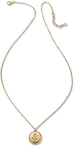 Yiffshunl Collar con Colgante de Flor Rosa, Collar, Collares para Mujeres y niñas, Regalo, Collar de Cadenas de Color Dorado Vintage, joyería
