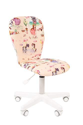 CHAIRJet Silla de escritorio infantil con ruedas, altura ajustable, 60 kg, reposabrazos y silla de oficina para niños, con respaldo, 105 (princesa, sin reposabrazos)