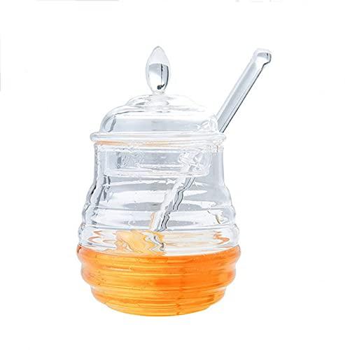 shandianniao Honey Vidrio,245 ml de Tarro de Miel Transparente,Colmena con el Contacto de Goteo for el Almacenamiento y la Entrega de la Miel (Color : A)