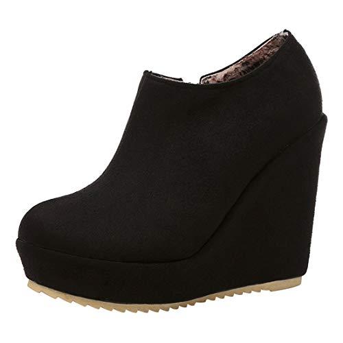 MISSUIT Damen Wedge Ankle Boots High Heels Keilabsatz Stiefeletten mit 12cm Absatz Plateau Keilstiefel Reißverschluss(Schwarz,36)