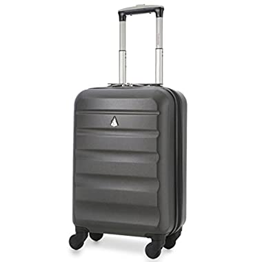 Aerolite American, United and Delta Airlines MAX Size ABS Hard Shell Spinner Hand Cabin Carry On Luggage Suitcase 22x14x9 - Also Fits Southwest and Many More