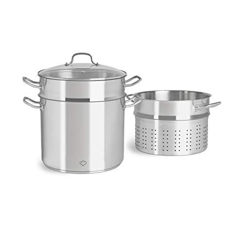 Olla de acero inoxidable 11 litros con tapa de cristal, colador de pasta y cocedor al vapor