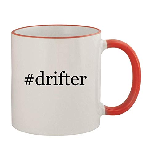 #drifter - 11oz Ceramic Colored Rim & Handle Coffee Mug, Red