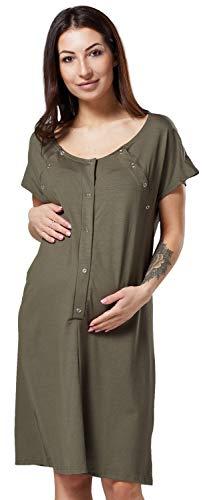 HAPPY MAMA Damen Umstands Stillen Lieferung Krankenhaus Kleid Nachthemd 538p (Khaki, 40-42, M)