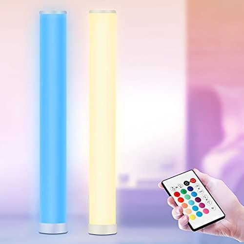 2 Stück - LED Stehlampe Dimmbar mit Fernbedienung, RGB Stehleuchte, 104CM Höhe, Farbwechsel Lichtsaeule, Led Ecklampe für Wohnzimmer, Schlafzimmer, Gaming Deko, 10 Watt