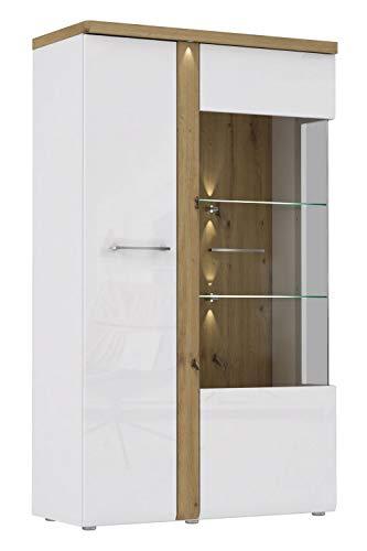 Furniture24 Vitrine Tuluza TUZV621B, Schrank, Vitrinenschrank, Wohnzimmerschrank mit LED Beleuchtung, Weiß Hochglanz (Mit innere Beleuchtung)