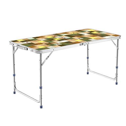 DesertFox アウトドア 折りたたみ テーブル 高さ3段階調整可能120×60×(55-62-70)cm 3WAY自由に高さ調整可能ピクニック レジャー キャンプ用 008 (3つの高さ55cm/62cm/70cm/緑/パラソル穴付き)