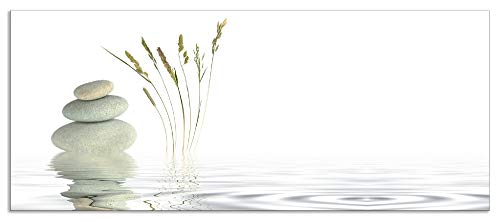 Artland Spritzschutz Küche aus Alu für Herd Spüle 50x120 cm Küchenrückwand mit Motiv Natur Zen Wellness Stein Gräser Yoga See Asien Weiß T5VB