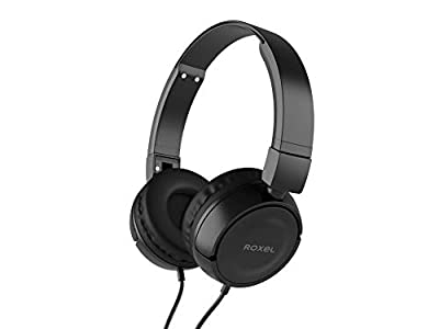 Roxel RX110 Powerful Bass Lightweight Wired Foldable Headphones with Mic, Ergonomic On Ear Headphone Compatible with Android and IOS Devices, Answer Incoming Calls (Black) from Roxel
