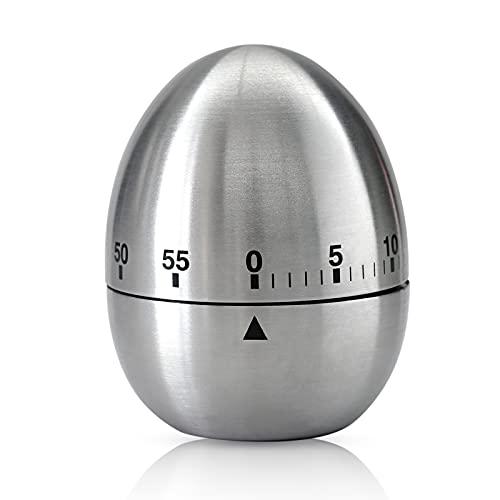 Edelstahl Eieruhr, 60 Minuten Garzeit Eiförmige Küchenuhr Manueller Mechanischer Drehalarm