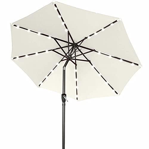 ABCCANOPY 9FT Patio Umbrella Ourdoor Solar Umbrella LED Umbrellas with 32LED Lights, Tilt and Crank Table Umbrellas for Garden, Deck, Backyard and Pool,12+Colors,(Beige)