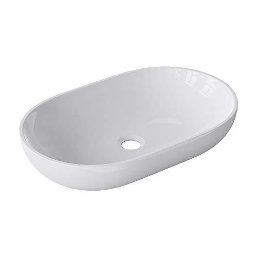 Sogood Design Waschbecken 54x34x10cm aus hochwertigem Gussmarmor Waschtisch in Weiß hochglanz DIN-Anschlüsse
