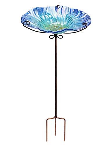 MUMTOP Vogeltränke aus Glas, 66 cm, mit Metallpflock für Garten und Außenbereich violett