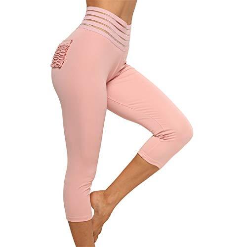Fliegend Damen 3/4 Leggings High Waist Yoga Hose Gestreifte Jogginghose Mit Taschen Frauen Fitnesshose Sporthose Laufenhose Stretch Gym Hosen XL