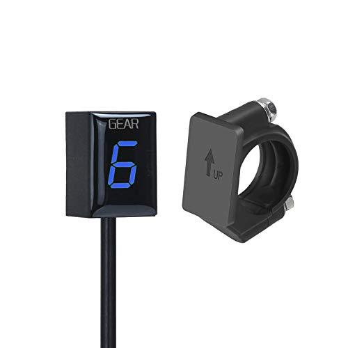 ATFWEL Motorcycle Gear Indicator for Kawasaki with Holder Bracket,Waterproof LED Display Digital Display Speedometer Shift Lever Sensors Plug & Play (Blue)