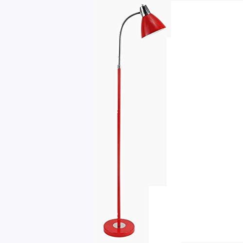 GLXLSBZ Lámpara de pie LED de Hierro Forjado, nórdico Moderno Minimalista Negro/púrpura/Rojo/Plata/Amarillo lámpara Vertical Ajustable Creativa Sala de Estar Dormitorio sofá lámpara de pie