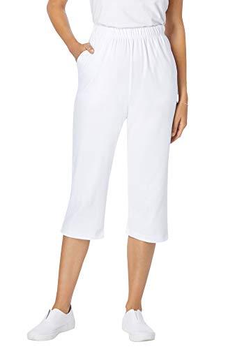 Woman Within Women's Plus Size 7-Day Knit Capri Pants - 4X, White