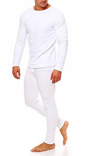 Skiunterwäsche Herren Set Thermounterwäsche Thermohose (XL, Hose + Hemd Langarm Weiß)