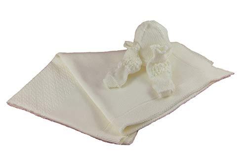 Manta de lana de merino para recién nacidos con babas y sombrero, producto artesanal, fabricado en Italia Bianco