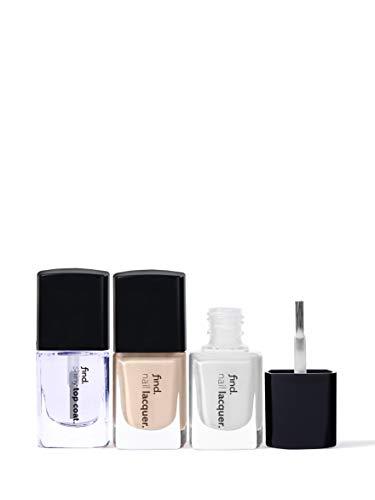 Marca Amazon - find. French Manicure - Esmalte de uñas, n.3 unidades (n.1, n.2, Top Coat)