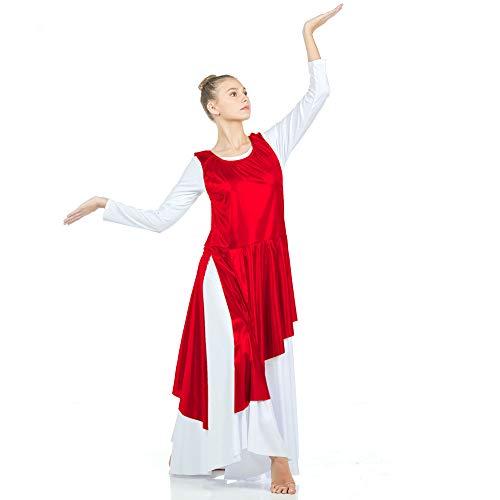 Danzcue Asymmetrical Metallic Praise Dance Tunic, Scarlet, 2XL-3XL-Adult