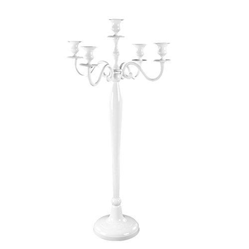 Gräfenstayn Candelabro portacandele 1, 3 o 5 Bracci - Varie Misure - candelabro Color Argento, Nero, Bianco od Oro (L, Bianco)