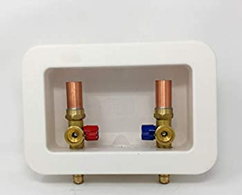 Washer Outlet Box With Valves [3162] Center Drain Washing Machine Box Assembly Kit 1/2-Inch Push-Fit Connection PEX F1960 2.1/2 Shank 3/4-Inch MHT outlet with 1/4-Turn Ball Valves Hammer Arrestor