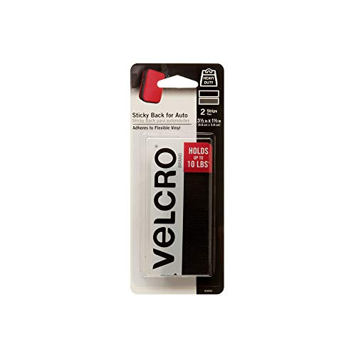 VELCRO Brand Industrial Strength Fasteners | Auto, RV, Boat Adhesive | Heavy Duty Strength for Dashboards & Consoles | Vinyl Compatible & Temperature Resistant | 3½in x 1½in Strips, Black