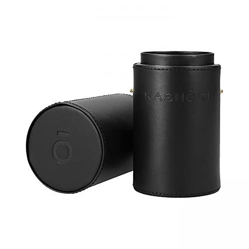 T4B Kashoki Tube Porte Pinceaux à Maquillage Noir, Fabriqué en Cuir Ecologique, Très Pratique, Haute Qualité, Dimensions 225mm de Hauteur x 70mm de Diamètre, 1 Piece