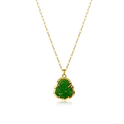 COLORFUL BLING 18k Gold Plated Laughing Buddha Pendant Necklace Green Jade Cubic Zirconia Gemstone Lucky Amulet Jewelry for Women Men-Green 2