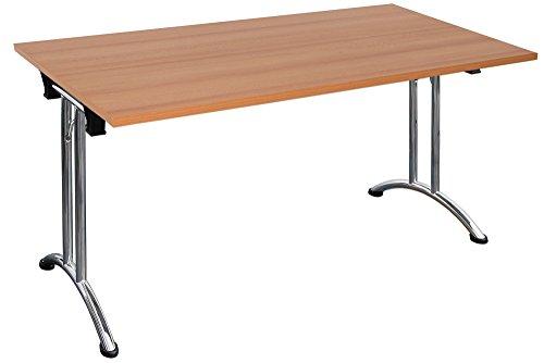 Dila GmbH Klapptisch stapelbar Melaminharzbeschichtete Tischplatte Konfernztisch Besprechungstisch Kantinentisch Verkaufstisch Schreibtisch Stahlgestell (140 x 80 cm, Buche)
