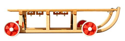 Roll Rodel - Holzschlitten mit Rädern zum Rollen auf Teer - Umsteckbare Vollgummiräder - mit Halterung unter Sitzfläche/inkl. Zugseil - Davoser Rodel 110cm bis 80 kg belastbar