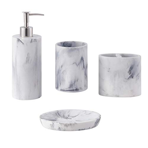 zccz Bathroom Accessory Set, 4 Pcs Marble Look Bathroom Vanity Countertop Accessory Set Bathroom Dcor Accessories with Soap Dispenser, Toothbrush Holder, Bathroom Tumbler, Soap Dish