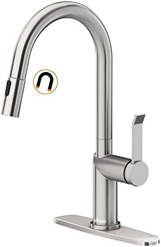 APPASO Modern Kitchen Faucet with Pull Down Magnetic Docking Multi Flow Sprayer Brushed Nickel product image