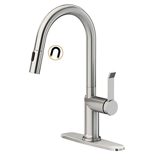 APPASO Pull Down Modern Kitchen Faucet with Magnetic Docking Multi-Flow Sprayer Brushed Nickel, Single-Handle High Arc Swan-Neck Kitchen Sink Faucet with Optional Deck Plate, Stainless Steel, APS204BN