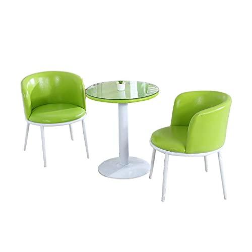 Krzesło kombinowane Kuchnia Jadalnia Krzesła, sklep z herbatą mleczną Cukiernia Sypialnia Balkon Recepcja Mały okrągły stół i skórzane krzesło Połączenie (kolor: białe nogi zielone)