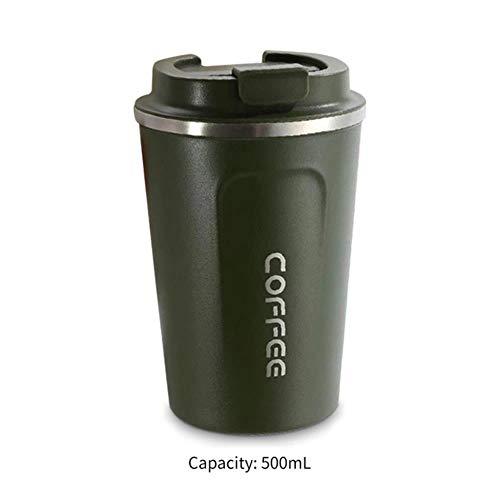 LinZX Taza de vacío 500ML Termo de café de Acero Inoxidable Botella Frascos de Agua Thermo Taza de té de la Taza del Viaje Termo Thermocup con Tapa,Army Green