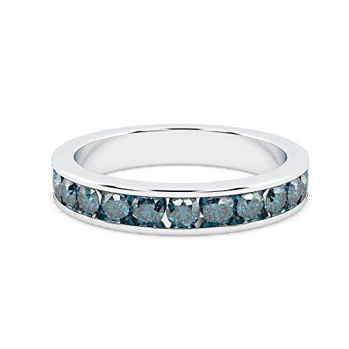 3.5mm 0.75 Carat Blue Diamond Half Eternity Ring in White Gold Size M